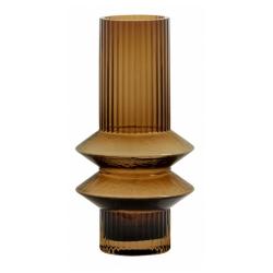 Vase Rilla S Amber von Nordal H 21 cm Rillenmuster Amber Braun Handarbeit Glas