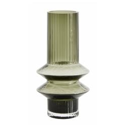 Vase Rilla S Grün von Nordal H 21 cm Rillenmuster Handarbeit Glas