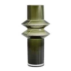 Vase Rilla M Grün von Nordal H 32 cm Rillenmuster Grün Handarbeit Glas