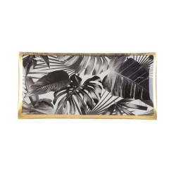 Glasteller Black Leaves von GiftCompany 10x0,8x21 Aufbewahrung für Schmuck und Kleinigkeiten