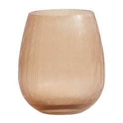 Teelichthalter Windlicht aus pfirsichfarbenem Glas mit feinen Linien von Nordal D 10 cm
