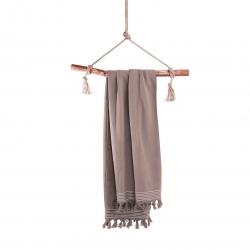 Hammamtuch Soft Cotton von Walra mit Fransen 100x180 cm Taupe Hellbraun