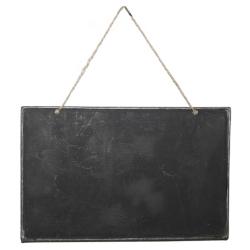 Tafel aus Blech zum Beschriften und Aufhängen mit Kordel 25x15 cm