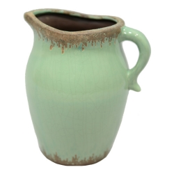 Deko-Krug Vase aus Steingut grün 25x22x18cm