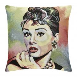 Kissen Audrey Hepburn 45x45 cm abnehmbarer Bezug 30 Grad waschbar Holly Golightly Frühstück bei Tiffanys