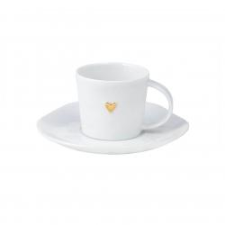 Kleine Espresso-Tasse Wolke Sieben mit Herz in Gold aus Porzellan von Räder Design 6 x 5 cm inkl. Untertasse