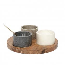 Holzteller mit 3 Marmorschälchen & Löffel von Hübsch