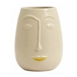 FACIA Blumentopf Kopf aus Porzellan von Nordal mit goldener Lippe 16,5 cm