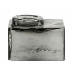 Teelichthalter Square aus grauem Glas von NORDAL eckige Form 7x9x12,5 cm
