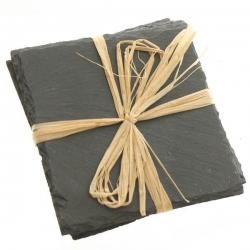 4er Set Untersetzer aus Schiefer 10x10 cm, edel in schwarz, Glasuntersetzer