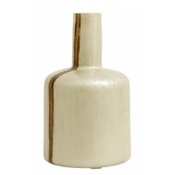 Vase Pearl Mother Brown von Nordal, Dekoflasche, elfenbeinfarben mit braunem Streifen