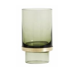 Kerzenhalter transparent grünes Glas von NORDAL mit messingfarbenem Rand H 13 cm D 8 cm