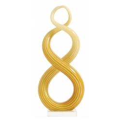 Skulptur von Nordal Glas Design in gelb geschwungene Form H 32 cm