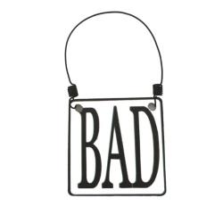 Bad-Schild zum Hängen 7,5x7,5 cm aus Zinkblech