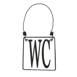 WC-Schild zum Hängen 7,5x7,5 cm aus Zinkblech