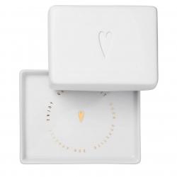 Kleine Butterdose aus Porzellan mit Herz Design 10,5x8,5x6 cm