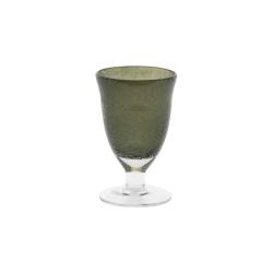 Dutz Glas auf Fuß Clear Bubble Grey H 13 D 8 Trinkglas mit Lufteinschlüssen Farbe grau