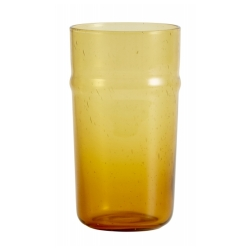 Airy Trinkglas von NORDAL mit Luftblasen, amber gelb, Handgemacht