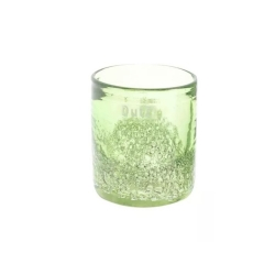 Dutz Cylinder Blatt-Grün Bubbles H 10 cm D 9 cm, Luftblasen Glas