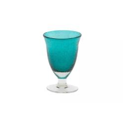 Dutz Glas auf Fuß Grünblau H 16 D 8 Trinkglas mit Lufteinschlüssen