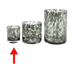 Dutz Cylinder Greyfleck H 11 cm D 9 cm, Farbverlauf, graues Glas