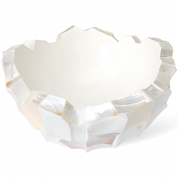 Schale mit Muscheln 24 cm Muschel auf Fiberglaskorpus perlmutt-weiß