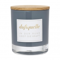 Duftkerze Cotton Blossom Baumwollblüte Glas-Windlicht mit echtem Eichenholzdeckel von Räder Design