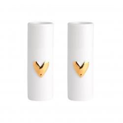 Mini Vasen 2er Set Wolke Sieben mit Herz in Gold aus Porzellan von Räder Design 3,5 x 9 cm