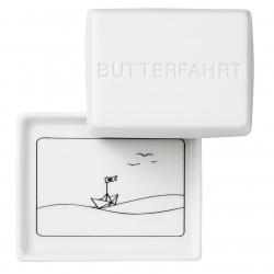 Kleine Butterdose aus Porzellan Butterfahrt 10,5x8,5x6 cm für ein halbes Stück Butter (125g)