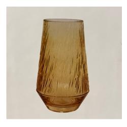 Glasvase RetroLove groß mit eleganten Riffeln in Gold-Gelb, D 17 cm, H 30 cm