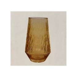 Glasvase RetroLove klein mit eleganten Riffeln in Gold-Gelb, D 14 cm, H 25 cm