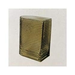 Glasvase RetroStyle klein mit eleganten Riffeln in WarmGrey, L 6,5cm B 11cm H 20cm