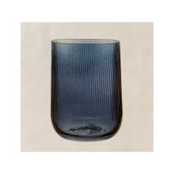 Glasvase RetroBlues klein mit eleganten Riffeln in Blau, 9x13x18cm