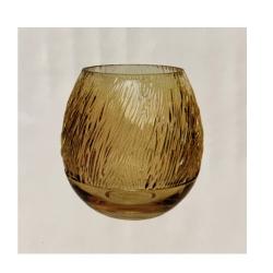 Glasvase RetroLove Rund mit eleganten Riffeln in Gold-Gelb, D 19 cm, H 20 cm