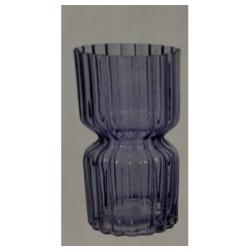 Glasvase RetroSand groß Sanduhr-Form in Blau-Lila, D 12 cm, H 25 cm