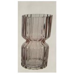 Glasvase RetroSand groß Sanduhr-Form in Transparent-Pink, D 12 cm, H 25 cm