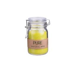 Kerze im Weckglas von Wenzel, Farbe Limone, Gelb, 100% Oliven-Wachs, H12 cm