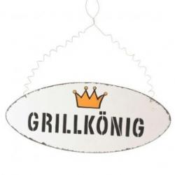 Holzschild Grillkönig oval 20 cm x 8,5 cm