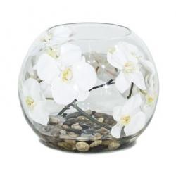 Künstliche Orchidee im Glas weiß