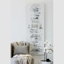 Bild City Ölbild mit Aluminiumapplikation 50x150 cm