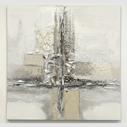 Bild Cross 1 Ölbild mit Aluminiumapplikation 80x80 cm