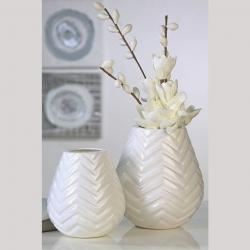 Vase Tao weiße Keramikvase mit Dekor