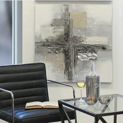 Bild Cross 2 Ölbild mit Aluminiumapplikation 80x80 cm