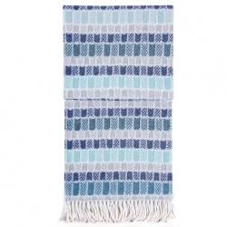 Decke CARA blau kariert 150x200 cm mit Fransen Wohndecke Plaid