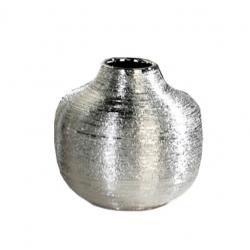 Vase Cave aus Keramik silber matt Streifen-Design 24 cm