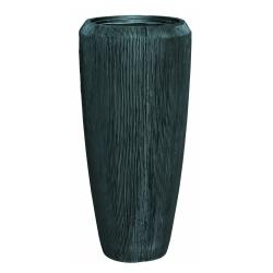 Pflanzgefäß Vase Polystone grau Rillen Muster für innen und außen