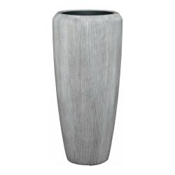Pflanzgefäß Vase Polystone braungrau Rillen Muster für innen und außen