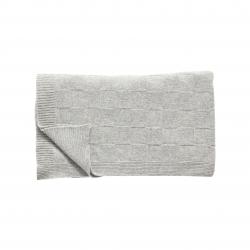 Decke mit Schachbrettmuster von Hübsch hochwertig und kuschelweich aus hochwertiger Lambswool-Mischung in hellgrau