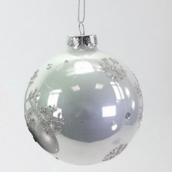 Weihnachtskugel perlmutt mit Glimmer