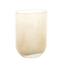 Dutz Vase beige kleine ovale Glasvase 15 cm mundgeblasen
